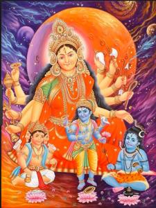 Aditi with Brahma, Vishnu and Shiva