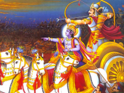 In Arjuna's chariot, the reins are in the hands of Lord Krishna.