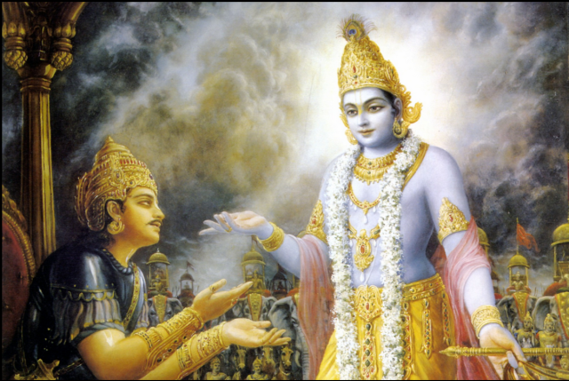 Arjuna receives shaktipat from Krishna