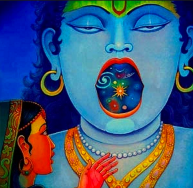 Young Krishna opens his mouth to show the universe in his body to his nursemaid.
