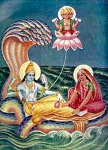 Brahmaa, the Creator, is created from the navel of Lord Vishnu. Lord Krishna is Vishnu's avatar.