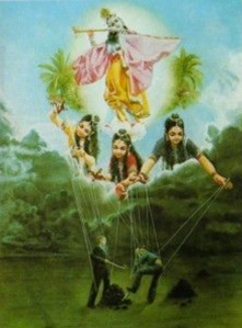 Three Gunas of Nature (Prakriti) holding people down, with Lord Krishna above it all.