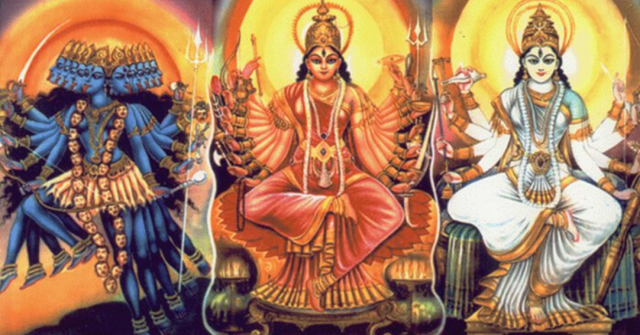 From left to right: Kali (darkness), tamas. Lakshmi (wealth and pleasure), ramas. Saraswati (music and learning), sattva.
